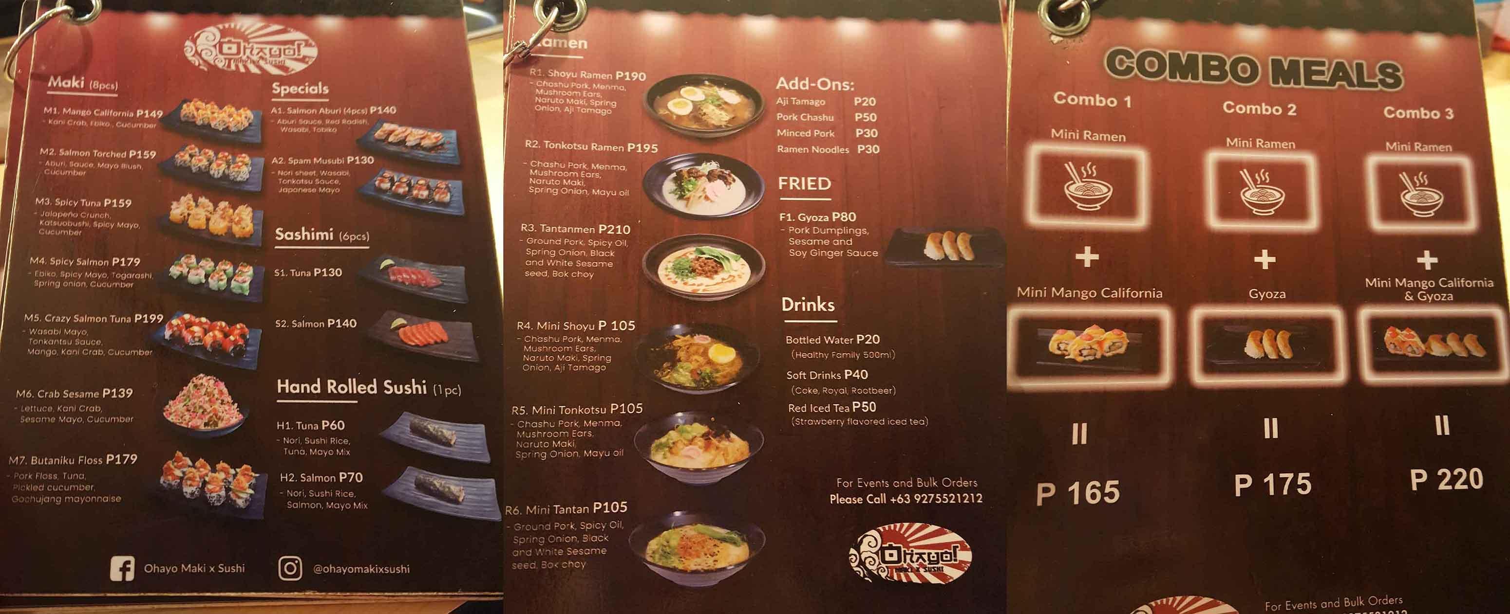 Timog ave Ohayo menu